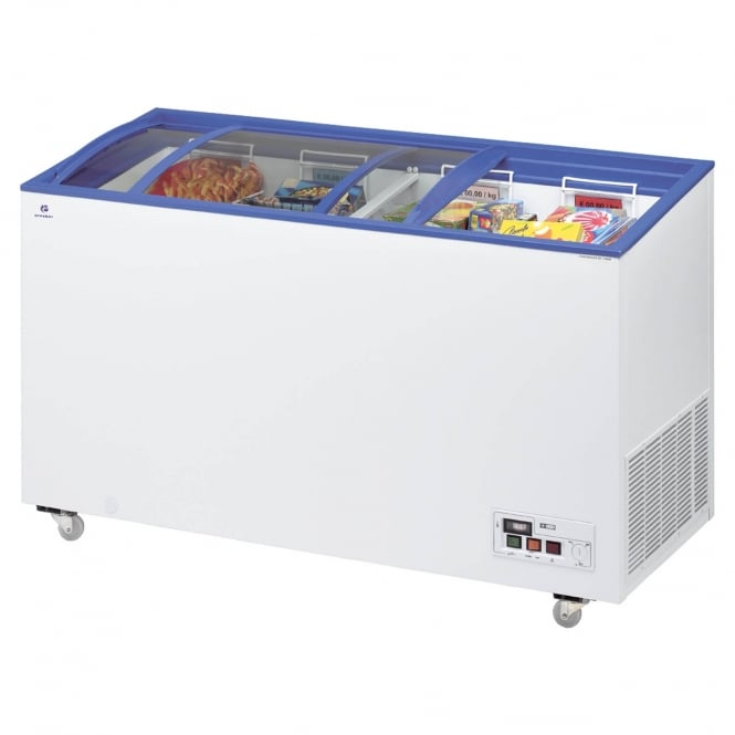 Arcaboa ACL430 - ACL Range Sliding Curved Glass Lid Chest Freezer White, Sliding Lid