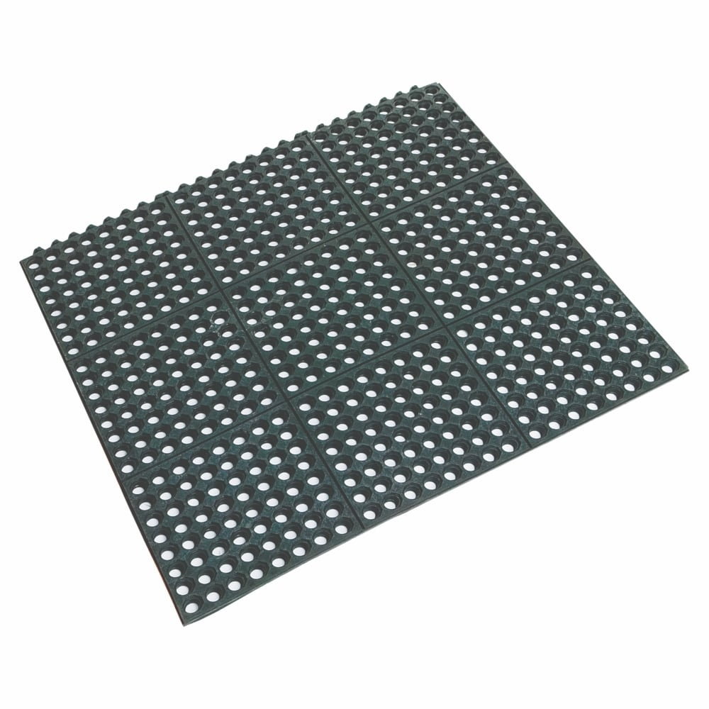 Rubber floor mats uk - Beaumont Rubber Floor Mat Black 90 X 90 X 1 2cm Interlocking