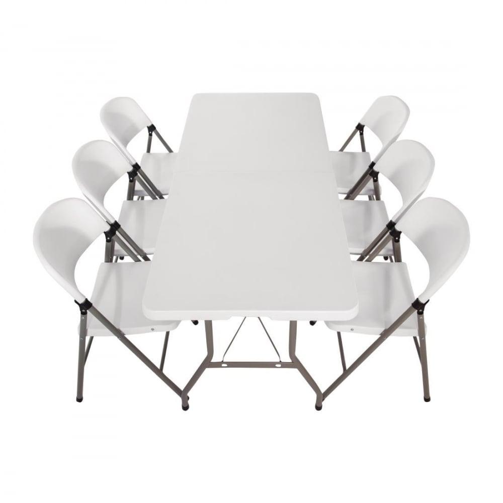 Bolero Centre Folding Table With Six Folding Chairs Furniture