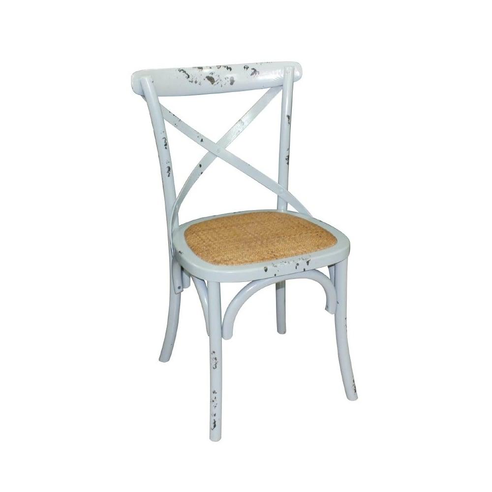 Sensational Bolero Bolero Wooden Dining Chair With Cross Backrest Antique Blue Wash Box 2 Cjindustries Chair Design For Home Cjindustriesco