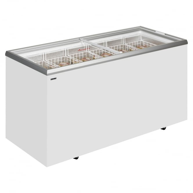 Derby EK56ST - EK ST Range Sliding Flat Glass Lid Chest Freezer White Flat lid
