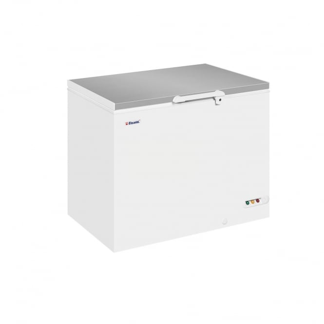 Elcold EL35SS - Solid Lid Chest Freezer White SS Lid