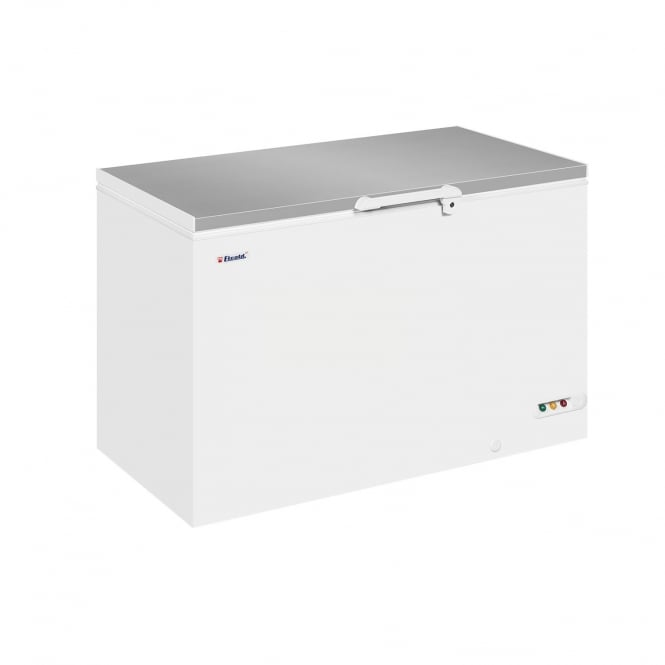 Elcold EL45SS - Solid Lid Chest Freezer White SS Lid