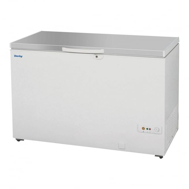 Derby F48S - Solid Lid Chest Freezer White SS Lid