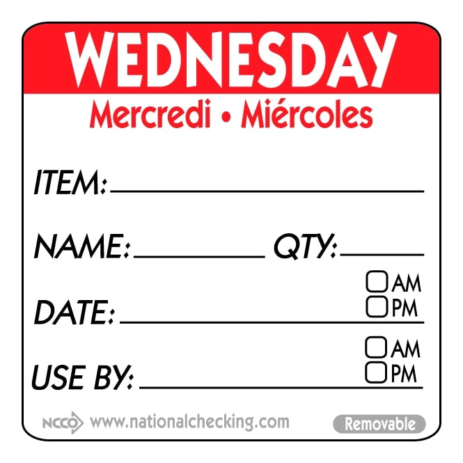Genware 50mm Wednesday Removable Day Label (500) - Cleaning & Hygiene from Heaton Catering ...