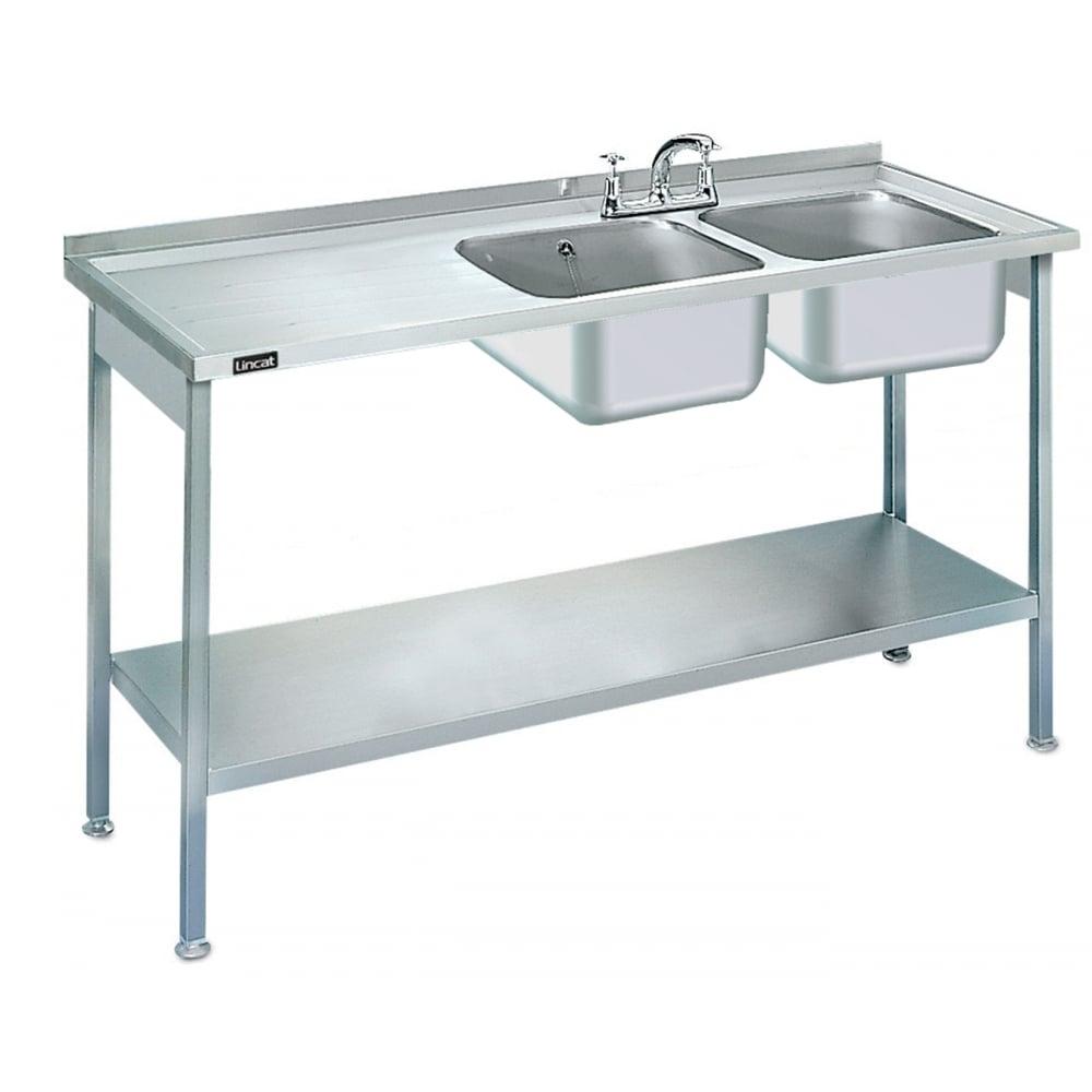 L884 l h kitchen furniture sink unit double left hand drainer 1500mm