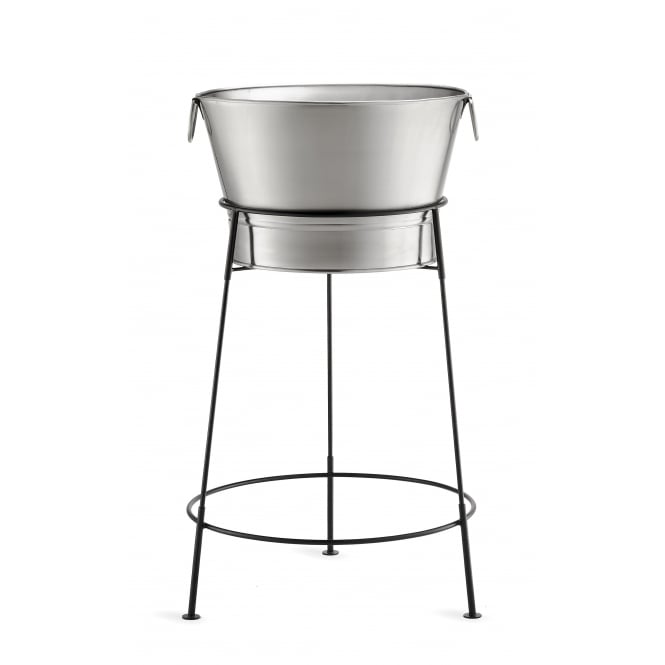 Tablecraft Beverage Tub and Black Metal Stand, Tub: 51cm dia x 31cm H (Overall 51cm dia x 95cm H), 40L