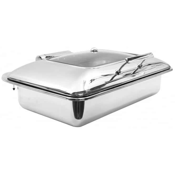 Tablecraft Chafing Servers Induction Server with window, Rectangular full size, Stainless Steel, 58x42.5x18cm, 6.5L