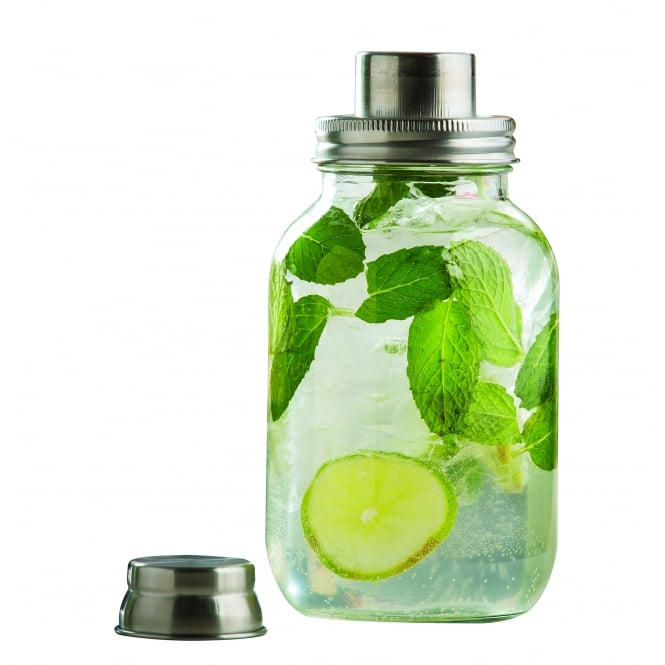 Tablecraft Mason Jar 3 piece Cocktail Shaker with Metal Top, Glass, 9.5cm x 20cm, 887ml